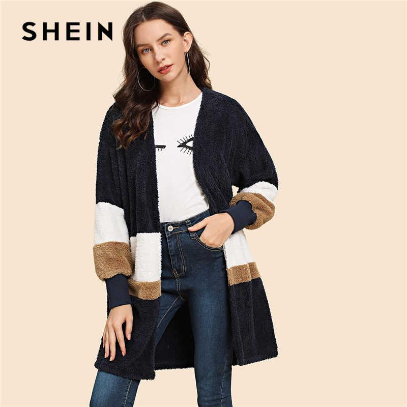 a1929d5075 SHEIN Streetwear Multicolor Open Front Color Block Teddy Long Sleeve Coat  Winter Modern Lady Elegant Women
