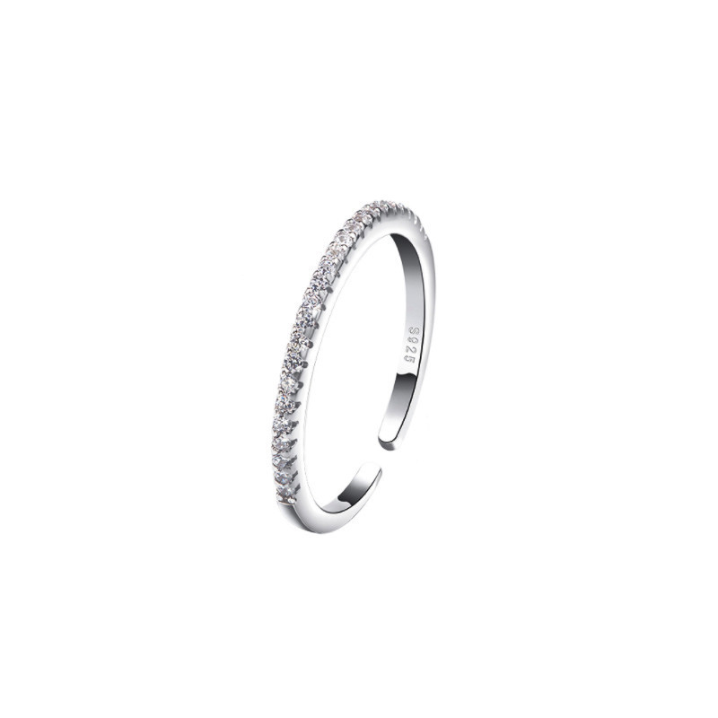 Shiny Crystal Rings for Women Silver Color Jewelry Girls Adjustable Size Open Finger Rings 3