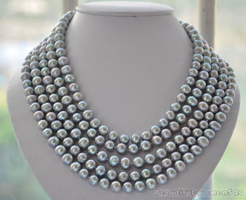 Z5281 LONG 10mm round gray cultured Freshwater pearl necklace 100inch