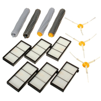 6pcs Hepa Filter 3pcs 3 Armed Side Brushes 4pcs Debris Extractor Brushes For IRobot Roomba 800