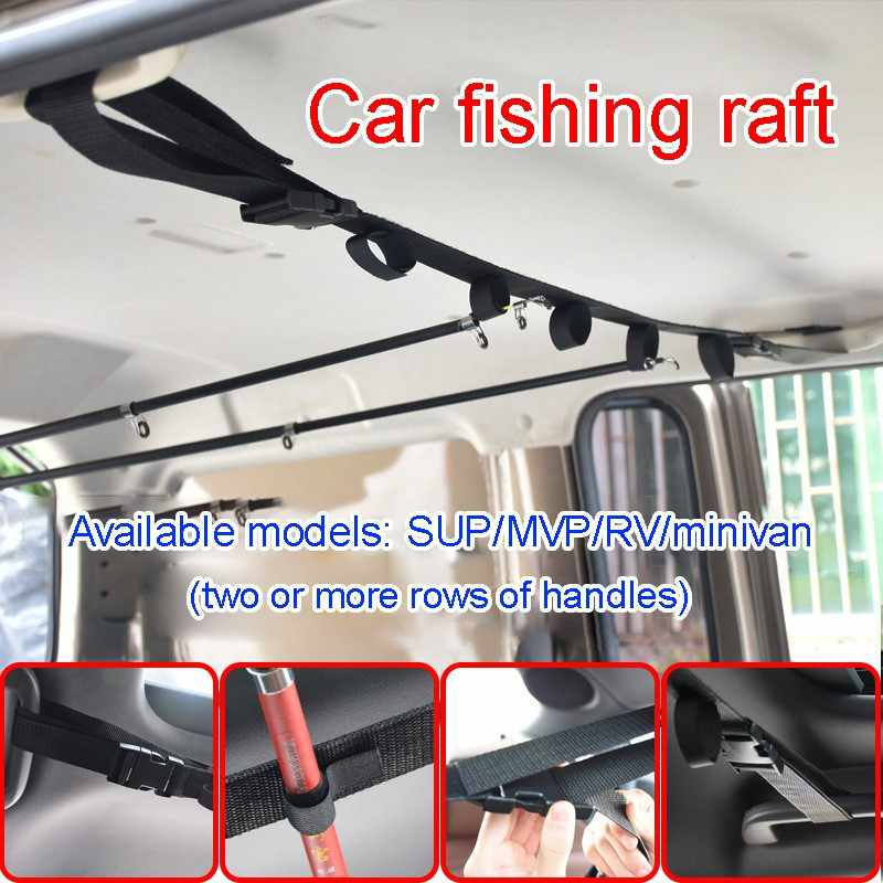2pcs Fishing Vehicle Rod Carrier Rod fishing rod holder for car Belt Strap With Tie Suspenders Wrap Fishing Tackle