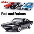 1:32 escala coches modelo rápido y furioso a escala 1970 Dodge cargador modelo coche aleación juguete coches Diecast juguetes para niño niños regalo