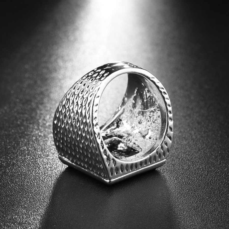 Luxury 2017 แฟชั่นแหวนคริสตัลสีขาวเครื่องประดับบุรุษ Utopia เงินสีสแควร์แต่งงานแหวนคริสตัลของขวัญ