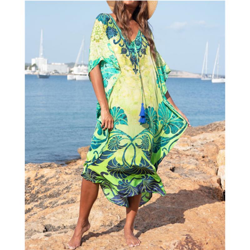 2bb978f42863 Vestido largo de playa de algodón para mujer Pareo de Plage Swimsuit Cover  up Beach Sarongs ...
