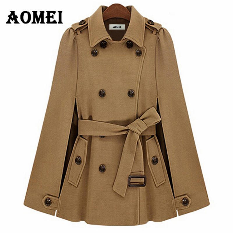 Winter Woman Coat Fashion Outcoat Double Buttons With Waist Belt Autumn Navy Blue Female Outerwear Manteau