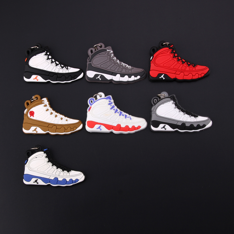 New Mini Jordan 9 Keychain Shoe Men Wome Kids Key Ring Gift Basketball Sneaker Key Chain Key Holder Porte Clef