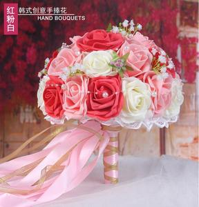Image 3 - 30 Rose Wedding Bouquets 2020 Handmade Bridal Flower Wedding Party Gifts Wedding Accessories Flowers Pears beaded with Ribbon