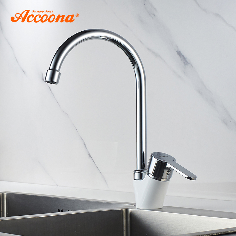 Accoona Kitchen Faucets Chrome Tube Brass Single Handle 360 Degree Rotation Hot And Cold Water Tap Green White Handle A4467