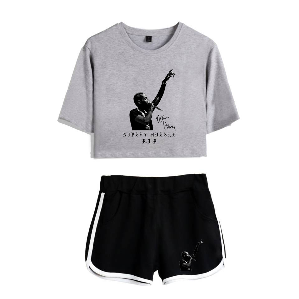 Occident Idol Nipsey Hussle 2 Pieces T-Shirt Short Pants Sets Popular Fashion Comfortable Women Summer High Street Basic Hip Hop