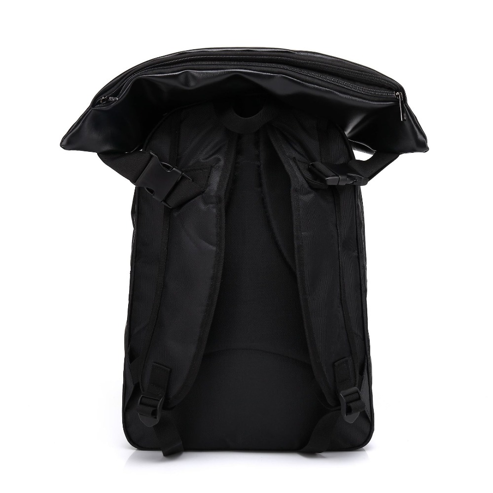 Brands Leather School Backpacks For Boys Black Fashion Designer School Bags  Hooded Travel Men Backpack Rainproof Luggage New-in Backpacks from Luggage  ... 596bd071ab