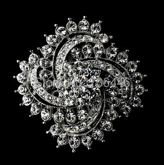 2 Rhodium Silver Plated Clear CZ Rhinestone Crystal Diamante swirling Design Brooch