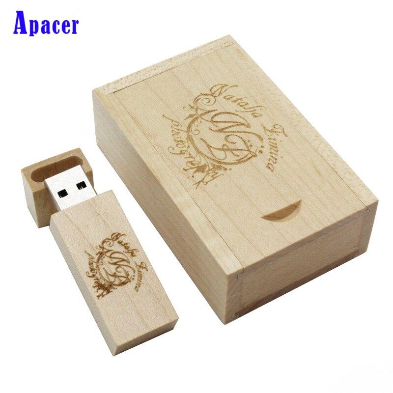 Apacer wooden+Box Logo Pendrive Card Usb Flash Drive 4GB 8GB 16GB Wood Pen Drive usb Stick
