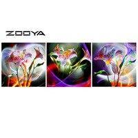 ZOOYA DIY Full Diamond Embroidery Painting Cross Stitch Mosaic Pattern Triptych Paintings Fantacy Flowers Wall Sticker