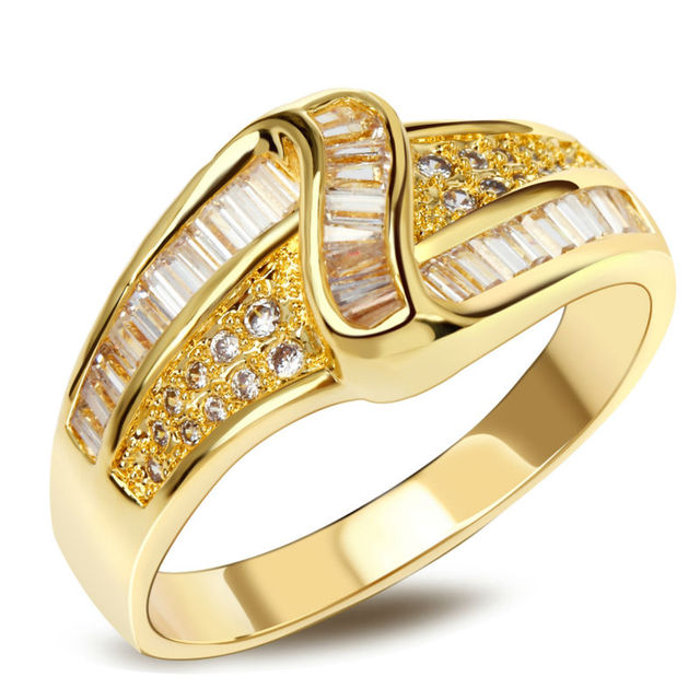 Classic Zircon jewelry Wholesale price China Top quality Gold plated AAA Zirconia Channel setting stones Women accessories rings