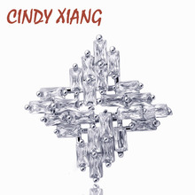 CINDY XIANG New Arrival Cubic Zirconia Collar Pin Jewelry Shining Sparking Cross Small Brooch Summer Shirt Accessories Good Gift