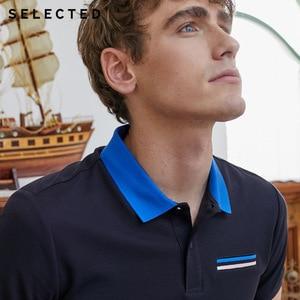 Image 4 - SELECTED homme été 100% coton col rabattu contrastant manches courtes Poloshirt S