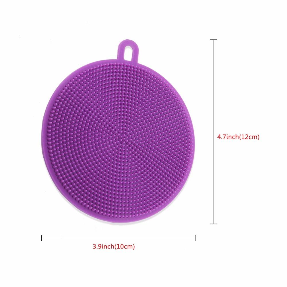 Image 5 - round Silicone Dishwashing Sponge Brush Antibacterial Kitchen  Cleaning Pad eco friendly Insulation padsSponges