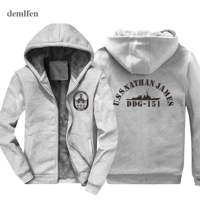 68d3d6ef7ee94 New The Last Ship USS Nathan James DDG-151 US Navy Seal TV Series Hoodie  Mens Cotton Winter Coat Keep Warm Sweatshirt