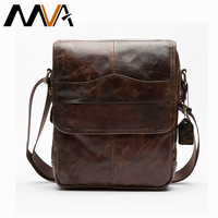Men Small Flap Bags Men Vintage Leather Messenger Bag Genuine Leather Shoulder Crossbody Bags Fashion Zipper