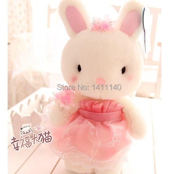 Lila Rosa Farbe Hochzeit Kleid Kaninchen Puppe Paar Hochzeitstorte