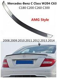 Samochód spojler z włókna węglowego dla Mercedes-Benz klasy C W204 C63 C180 C200 C260 C300 2008-2014 skrzydło spoilery AMG akcesoria w stylu