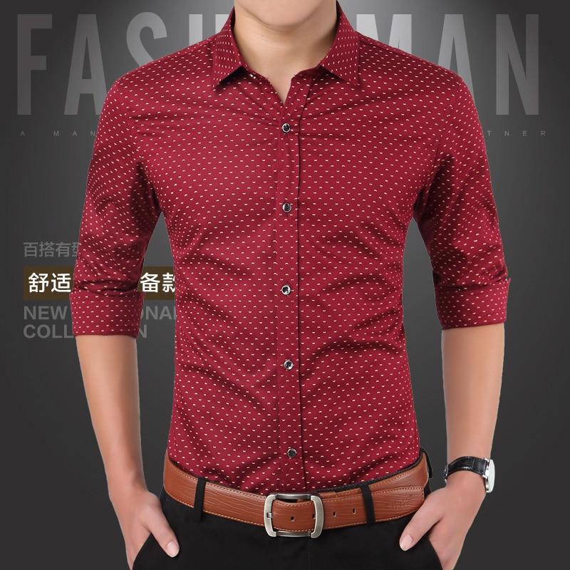 Nueva marca de moda de otoño camisas de impresión Slim Fit camisa - Ropa de hombre - foto 3