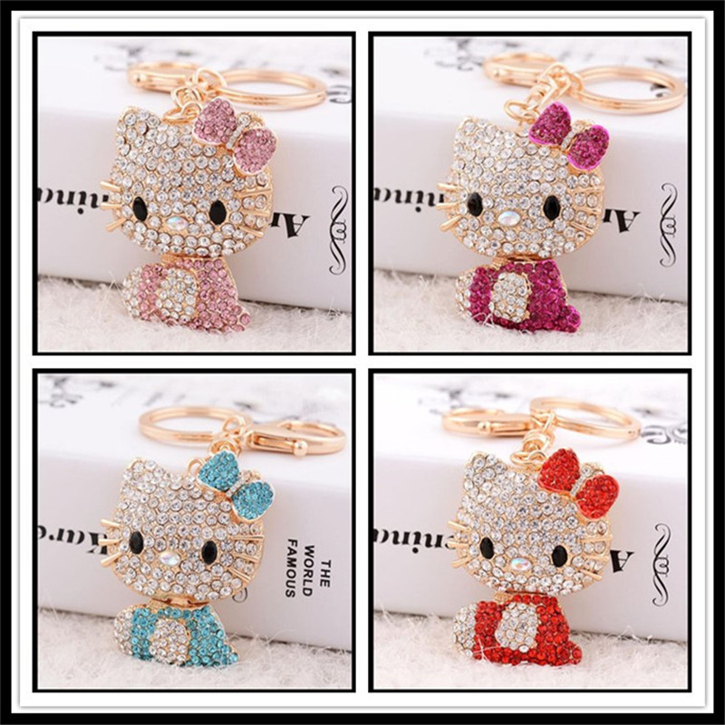 2019 NEW Fashion Creative Hello Kitty KeyChain Girls Bag Ornaments Car Key Chain Exquisite Gift Birthday Gift Party Favors