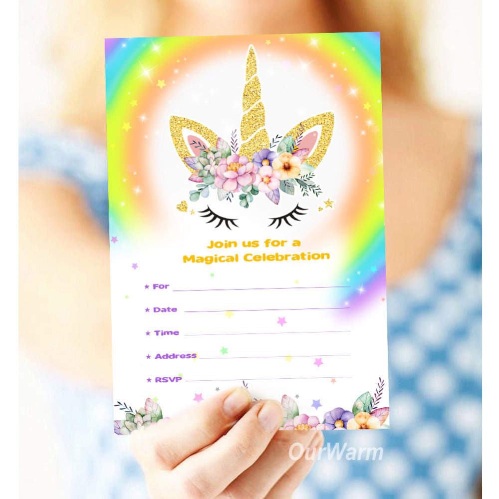 OurWarm Unicorn Invitations Card With Envelopes Party