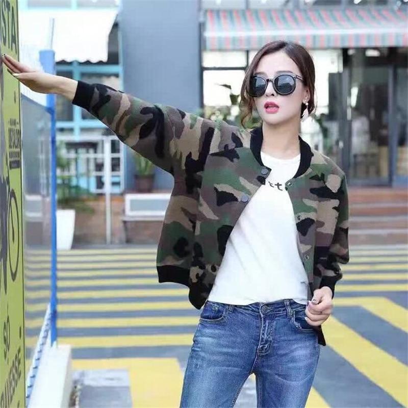 Fashion Spring Autumn Women Jacket Sweater thicken Coat Cardigan O-Neck Knitwear Camouflage Casual Jacket
