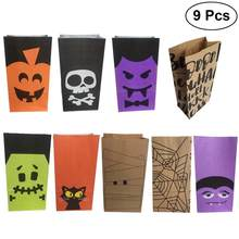 9pcs Halloween Gift Goody Candies Bags Party Favors Cookies Chocolates Biscuits Paper Bags for Kids Festival Celebration(China)
