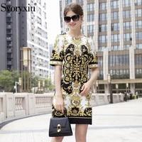 Svoryxiu Designer Milan Catwalk Summer Dresses Women's Short Sleeve Diamond Baroque Printing Mini Dress Vestido