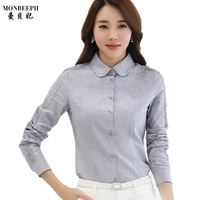2017 New Fashion Women S Autumn Slim Ruffles Chiffon Shirt Female Work Wear Long Sleeve Stand