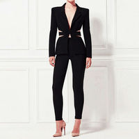 Wholesale fashion women dresses black notched neck long sleeve 2 pieces set sexy casual suits elegant womens autumn dresses