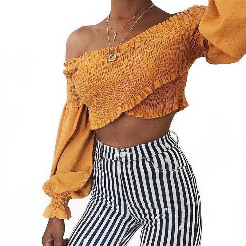 HTB10vD3XxvEK1JjSZFPq6zWYpXaq - off shoulder top long sleeve wrap blouse strapless PTC 227