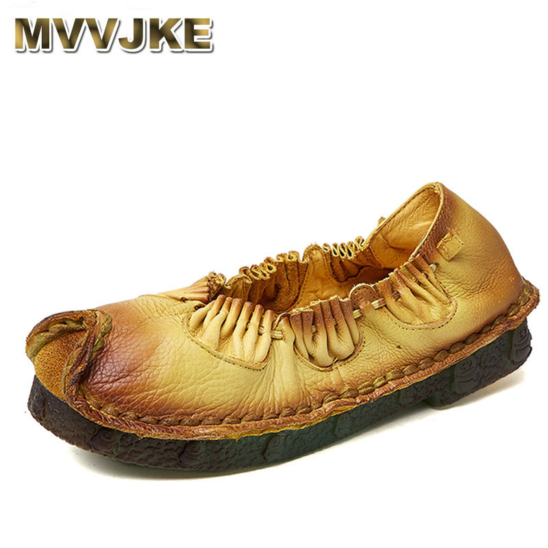 MVVJKE Handmade Casual Shoe genuine leather female moccasins loafers soft outsole Fashion Spring Driving Shoe Women Flats 2018 spring genuine leather loafers men casual shoes lace up luxury fashion male handmade moccasins driving footwear xxz5