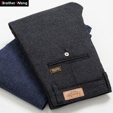 Осень зима новые мужские облегающие повседневные брюки модные деловые Стрейчевые плотные брюки мужские брендовые клетчатые брюки черные синие