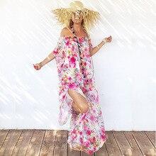 2019 Summer Women Dress Sexy Ladies Slash Neck Off Shoulder Short Sleeve Dress Female Chiffon Printing Bohemian Beach Dress цена