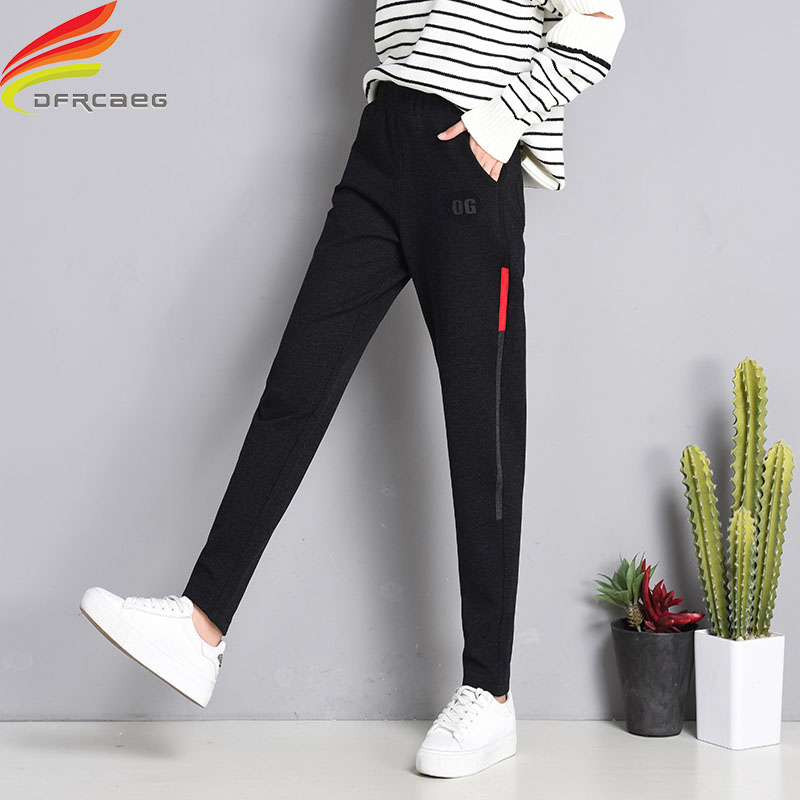 Streetwear Pants Women Winter 2018 Elastic Waist Pockets -5852
