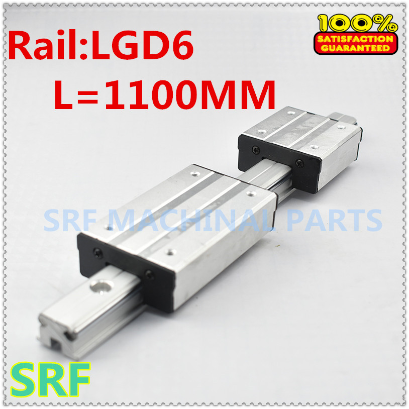 1pcs Aluminum  Double Axis External Guide Rail LGD6 L=1100mm shaft rail with 4 wheels slide block1pcs Aluminum  Double Axis External Guide Rail LGD6 L=1100mm shaft rail with 4 wheels slide block