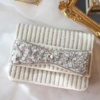 envelope bags 2018 new handbags ins retro national woman hand grab bag satchels pearls beading crystal bow graceful bags