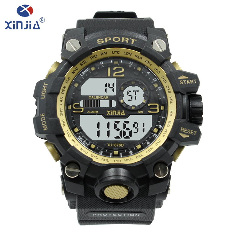 bastante agradable fcc01 57cdf US $17.41 15% OFF|XINJIA Fashion luxury men Diving watch Digital Alarm  clock sport watch electronic watch backlight night vision watches XJ  876D-in ...