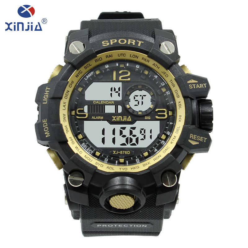 2ffddab24e04 XINJIA moda de lujo hombres de buceo reloj Digital Reloj reloj deportivo  reloj electrónico retroiluminación visión