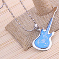 Atacado (36 pçs/lote) guitarra Moda Aço Inoxidável 316L Pingente colares & pingentes de colares homens Cadeia de esferas de aço Inoxidável