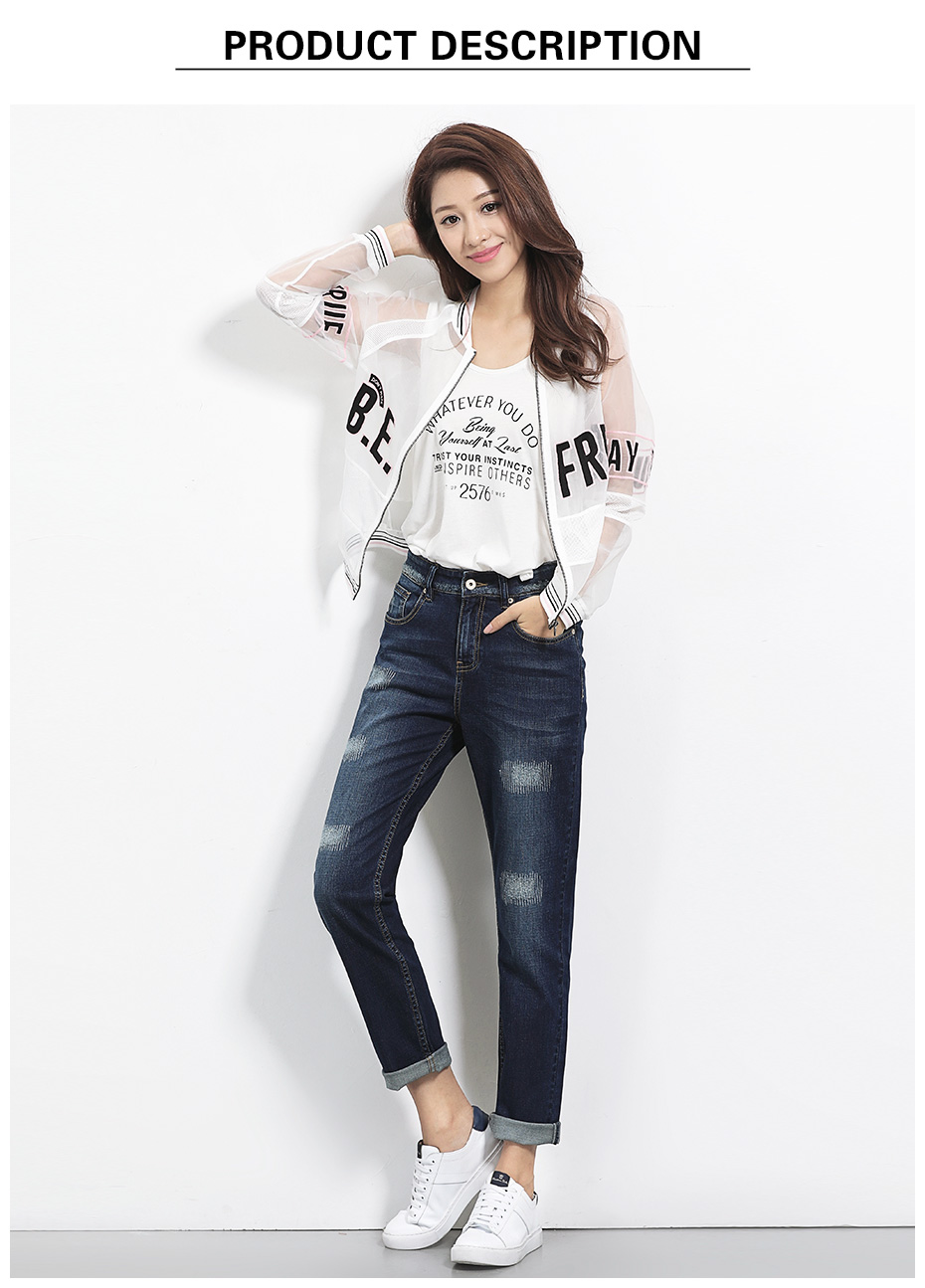17 New arrival Jeans women Ripped loose style Bleached mid waist low elastic Plus size jeans 40-1KG Available 5