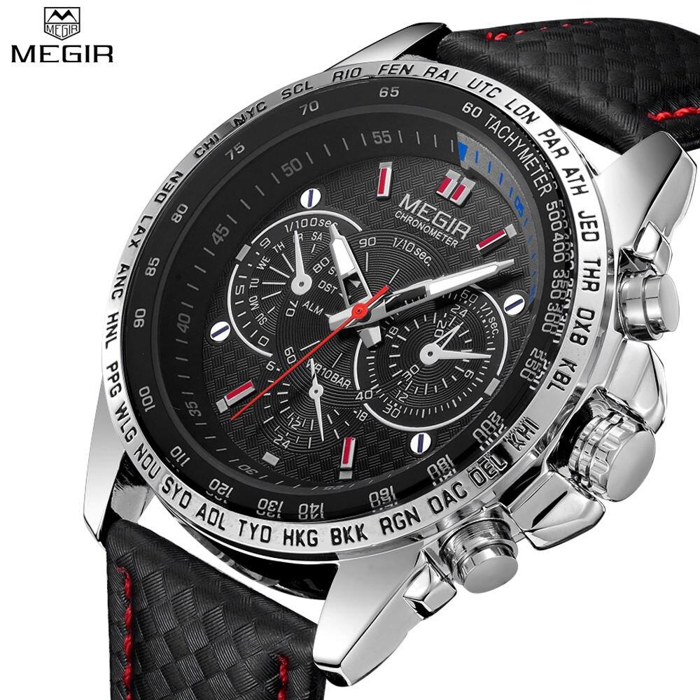 Prix pour MEGIR Hommes de Casual Montres Casual Quartz-Montre Noir En Cuir Montres Pour Hommes MG1010
