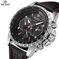 MEGIR Relojes Ocasionales de Los Hombres Reloj de Cuarzo Ocasional Relojes de pulsera de Cuero Negro Para Hombre MG1010