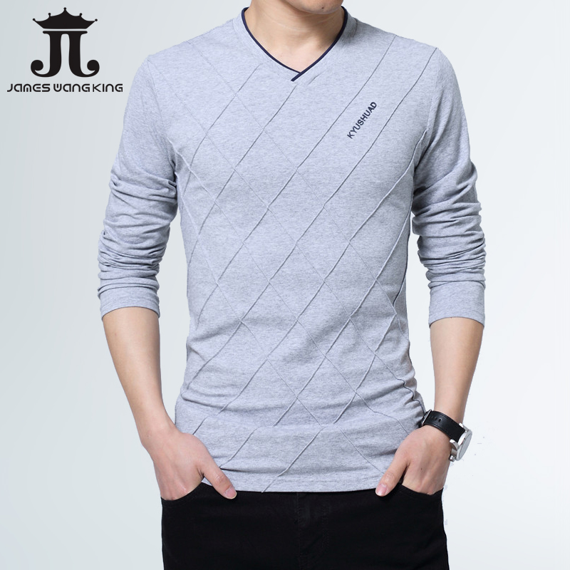 Us 23 99 2019 Fashion Men T Shirt Slim Fit Custom Crease Design Long Stylish Luxury V Neck Fitness Tee Homme 5xl In Shirts