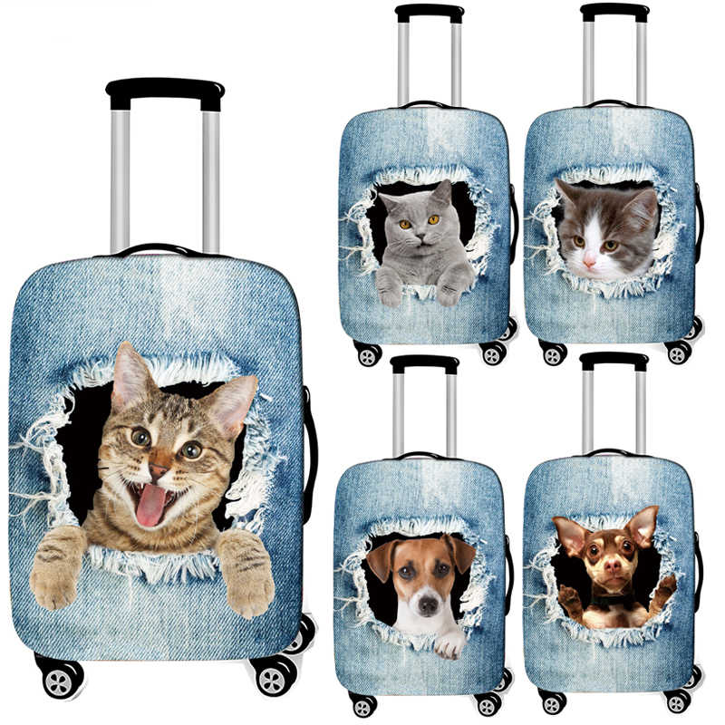 cute cat / dog in the hole print luggage cover for travel baggage cover elastic suitcase cover anti-dust trolley case covers
