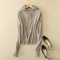 100%goat cashmere knit women's hoodies sweatshirts tie collar pullover retail wholesale customize
