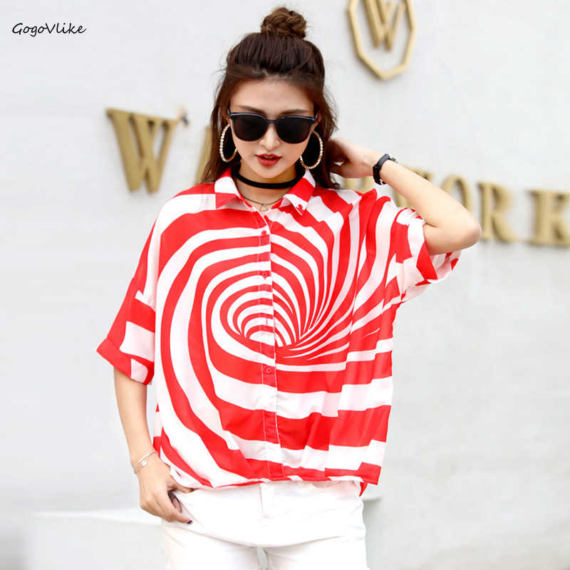 Hip Hop Circle PRINT Blouse and Top Women Oversized 2019 Summer Thin shirt femme Casual Street Tops Plus Size Europe LT149S50